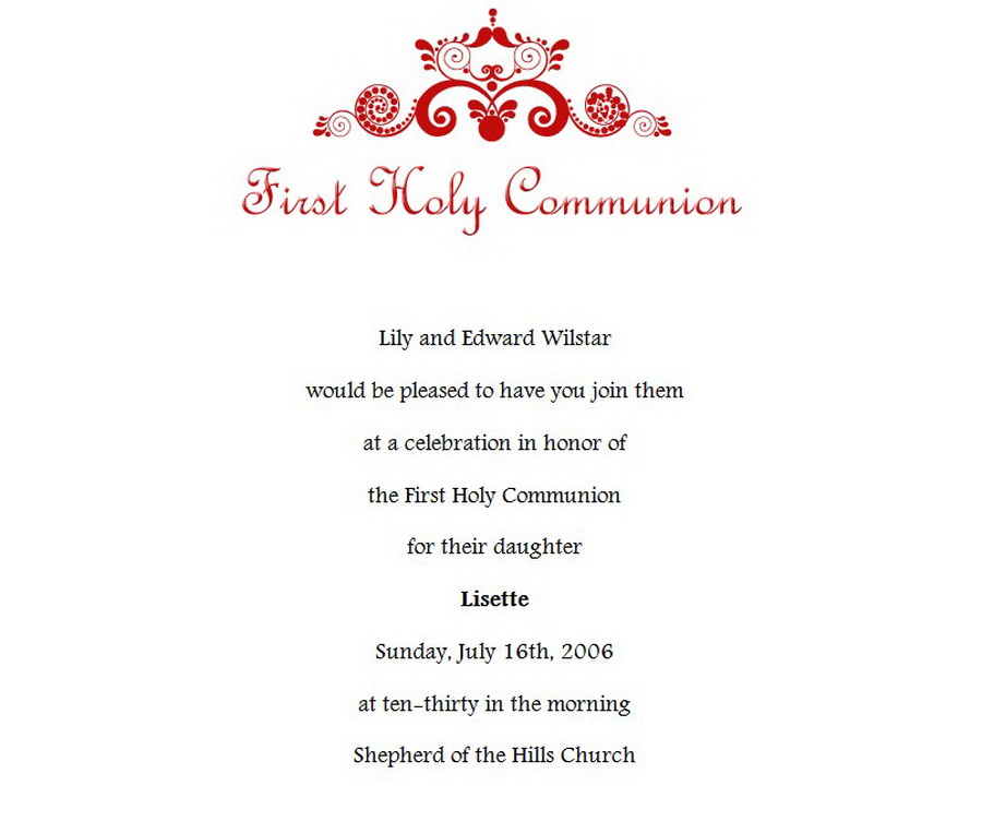 First communion invitations 1 wording free geographics word templates first communion invitations wording 1 stopboris Choice Image