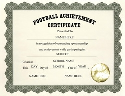 football certificates template