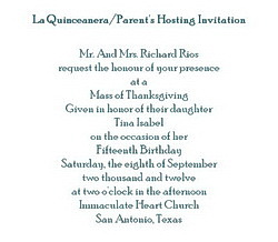 La Quinceanera Free Suggested Wording by Theme Geographics