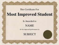 most improved student certificate
