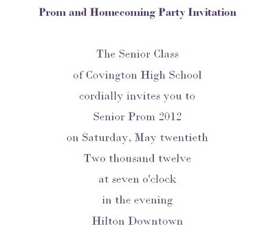 Prom Homecoming Party Invitations Wording