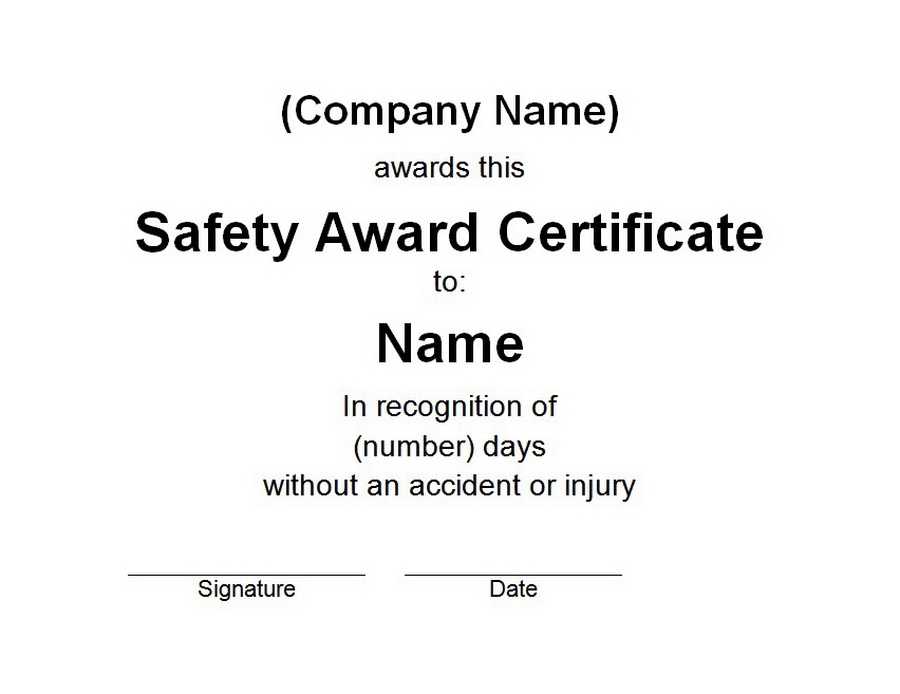 Safety Award Certificate | Free Word Templates Customizable Wording