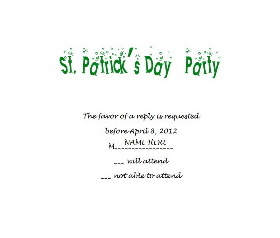 St Patricks Day Response Cards Rsvp 2 Wording Free Geographics