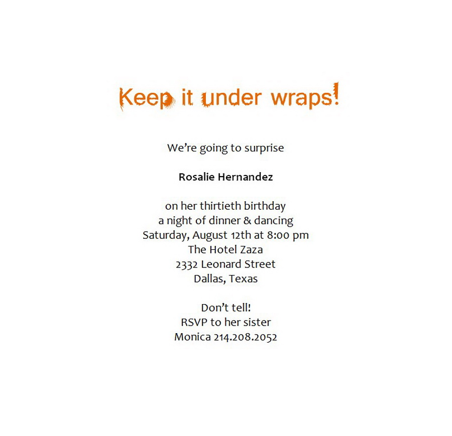 Surprise Birthday Party Invitations 6 Wording   Free Word Templates