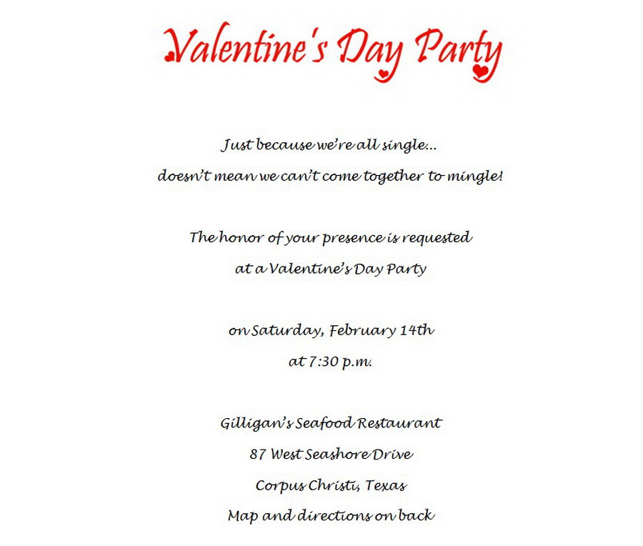 Valentine\'s Day Party Invitations 1 Wording | Free Geographics Word ...