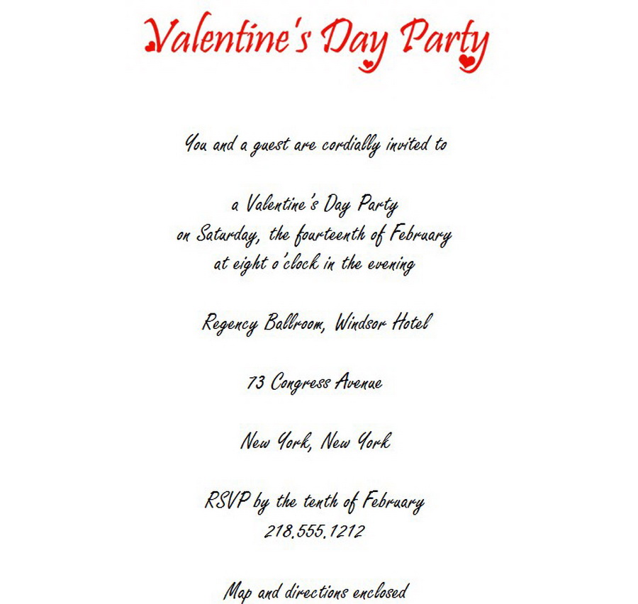 Valentines Day Party Invitations 3 Wording Free Geographics Word