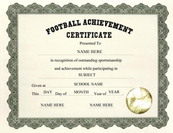 Free certificate templates for elementary school for Football certificate templates