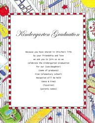 Kindergarten Graduation Invitations Templates Clip Art Wording