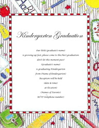 Kindergarten Graduation Invitations Templates Clip Art Wording