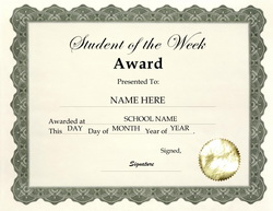 Free award templates for elementary school for Student of the week certificate template free
